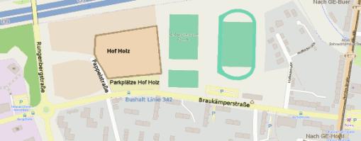 Anfahrtskarte Hof Holz. Der Hof liegt ander Braukämperstraße.
